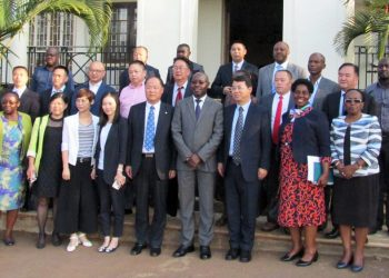 Delegates from the People's Republic of China with representatives of Top Management of the Ministry of Agriculture, Animal Industry and Fisheries led by Mr. Pius Wakabi Kasajja the Permanent Secretary, Ms. Ethel Kamba the Under Secretary, Dr. Juliet Sentumbwe the Director for Animal Resources, Mr. Stephen Byantware the Commissioner for Crop Protection and Dr. James Tumwiine the China SSC Project Coordinator.