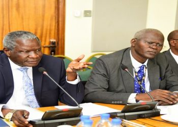 Minister Obiga Kania (left) and officials from the Ministry of Internal Affairs appear before the Committee on Public Accounts (Central Govt.) on Thursday