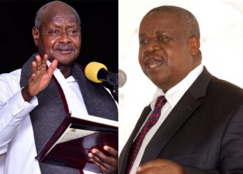 A photo montage of President Museveni (Left) and the Minister for Justice and Constitutional Affairs, Gen Kahinda Otafiire