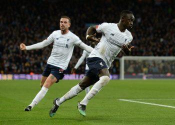 Sadio Mane (right) celebrates scoring the winner against Aston Villa on Saturday. (PHOTO/Courtesy)