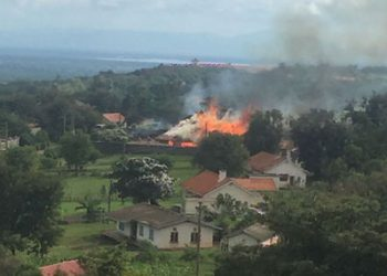 Some of the houses in King Mumbere's palace were set ablaze during the attack in the palace (PHOTO/File).