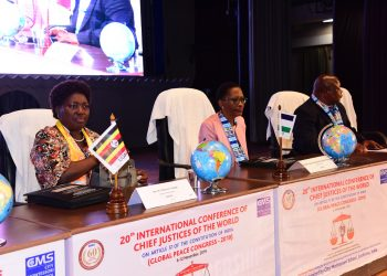 The Speaker of Parliament, Rebecca Kadaga_ Justice Maseforo Elizabeth of Lesotho and Chief Justice of Swaziland, Bheki Maphalala, at the global conference of chief justices in Lucknow, India