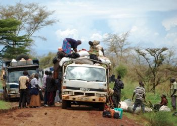Traders cooking their food under the tree on Monday on Moroto, Nakapiripirit road  after getting stuck on the road