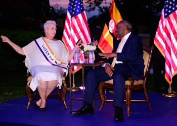 US ambassador to Uganda Deborah Malac (left) with Dr Ruhakana Rugunda, Uganda's Prime Minister, at her residence in Kololo, Kampala on July 3. She called on Uganda to invest more in education and health for women in order to prevent gender-based violence.
