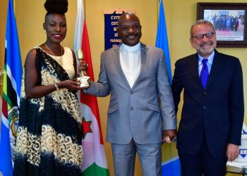 Burundi President – Pierre Nkurunziza received 2019 prestigious HiPipo Music Awards winner for Africa Fans' Favorite Fresh Talent – Natacha La Boss at State House, Bujumbura. (PHOTO/File)