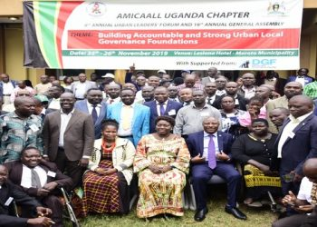 Speaker Kadaga (C) with mayors in Moroto (PHOTO/Courtesy)