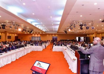 President Museveni addressing guests at the Uganda-Democratic Republic of Congo (DRC) joint business forum at Speke Resort, Munyonyo on Saturday