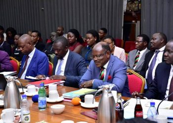 Makerere University administrators led by Vice-Chancellor, Prof. Barnabas Nawangwe (2nd right) appearing before Education Committee on Wednesday (PHOTO/Courtesy)