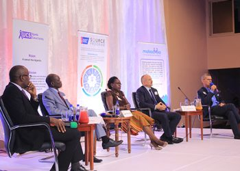 Panel discussion at the graduation of cancer organissations.Left-Right_ The moderator, Maurice Mugisha- UBC_ Dr.Orem (UCI), Ms. Nakiggude (UWOCASO), H.E Fornara (Italian Embassy) & Dr.Ian ClarkD Mugisha.
