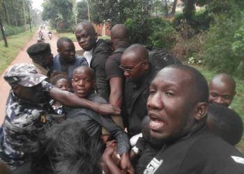 Journalists under the Uganda Journalists Association protesting security brutality on Monday