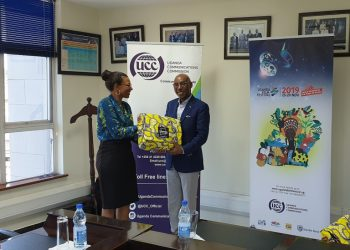 UTB Chief Executive Officer Ms Lilly Ajarova and her UCC counterpart Mr Godfrey Mutabazi met in the latter's office in Bugolobi on Thursday (PHOTO/Courtesy)