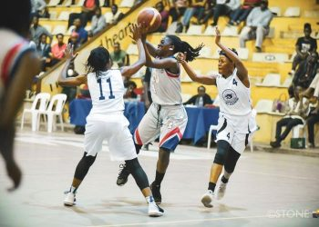 Action between UCU Lady Canons and JKL Lady Dolphins on Friday. (PHOTO/FUBA)