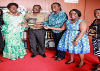 Speaker Rebecca Kadaga (2nd left) and staff of the African Freedom of Information Centre (PHOTO/PML Daily)
