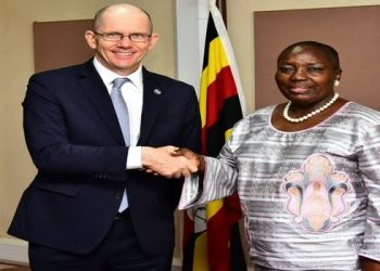 Speaker Rebbeca Kadaga (R) with Antony Thompson the World Bank country manager for Uganda (PHOTO/File).