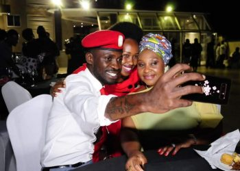 South African music legend Yvonne Chaka Chaka (R) in a photo with Bobi Wine and wife (PHOTO/Courtesy).