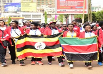 Ugandan and Kenyan players march from Parliament to Kibuye along Entebbe Road at the start of the 10th EAC inter parliamentary games on Sunday (PHOTO/Courtesy).