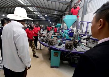 President Museveni at NaNa shoe factory that produces shoes from local materials (PHOTO/PPU)