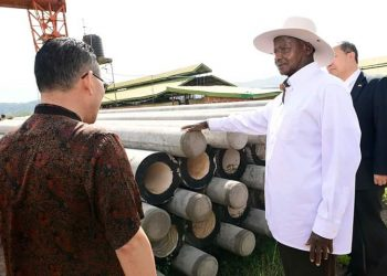 Concrete electric poles made by Chinese firm Shenze industries. Museveni said these are good alternative to cutting trees (PHOTO/PPU).
