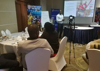 Mr. Lule Isma, the Branding and Marketing Director at StarTimes explains the new promo to journalists (PHOTO/Javira Ssebwami).