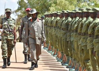 President Museveni passing LDU forces recently. The LDU are accused of tutoring civilians (PHOTO/File)