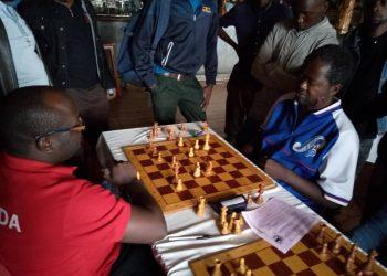 IM Arthur Ssegwanyi (L) against Kenya's candidate Master Ben Magana. (PHOTO/Courtesy)