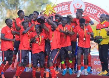 Cranes players celebrate after winning the CECAFA Senior Challenge Cup on Thursday. (PHOTO/Courtesy)