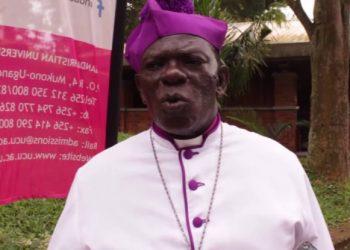 The Bishop of Mukono Diocese Rt. Rev James William Ssebaggala speaking to the media (PHOTO/Elizabeth Namajja).