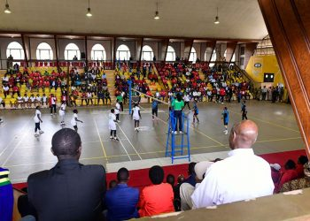 Enjoying a volleyball match between Uganda and Tanzania in the EAC Inter-Parliamentary Games at the Lugogo MTN Arena (PHOTO/PPU)