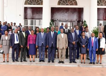 President Museveni in a group photo with the sworn in judges at State House, Entebbe on Tuesday (PHOTO/PPU).