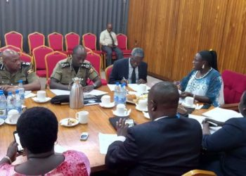 Minister of State for Internal Affairs Obiga Kania and Deputy Inspector General of Police, Sabiiti Muzeyi and other officers appearing before the Defense Committee on Tuesday (PHOTO/PML Daily).