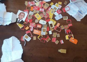 Some of the sim cards that were recovered at suspect's home on Tuesday (PHOTO/Courtesy).