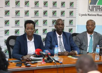 UNRA boss Allen Kagina (L) during a presser in the recent past