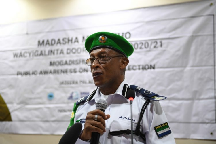 AMISOM Police Commissioner, Inspector General of Police (AIGP), Augustine Magnus Kailie addresses participants during a public awareness forum on Somalia's 2020/21 Upcoming Elections in Mogadishu 24 November 2019.
