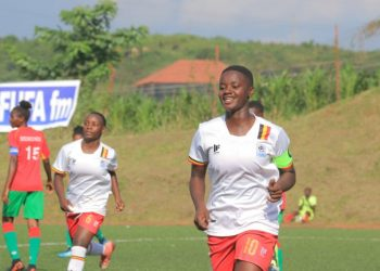 Juliet Nalukenge (10) celebrates after scoring for Uganda on Monday. (PHOTO/FUFA)