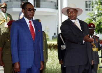resident Yoweri Museveni (R) welcomes President of Equatorial Guinea Mr Teodoro Obiang Nguema Mbasogo at State House to inspect a parade Wednesday April 26, 2017 (PHOTO/File).
