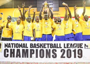 City Oilers celebrate winning the 2019 FUBA NBL title on Sunday evening at Lugogo. (PHOTO/Courtesy)