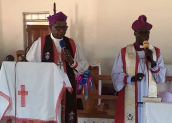 Archbishop Ntagali and Bishop Nasak in Christ Church Cathedral in North Karamoja Diocese