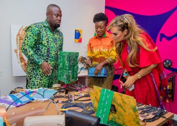 Dr. Rasha Kelej, CEO of Merck Foundation with Opoku Boakye-Ansah and Matilda Payne, African Artists in Sustainable Art