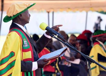 President Museveni speaking during Gulu University's 15th graduation ceremony on Saturday (PHOTO/PPU).