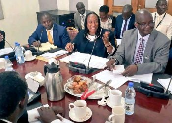 State Minister for finance David Bahati and colleagues appearing before Parliamentary Committee on Wednesday (PHOTO/Courtesy).