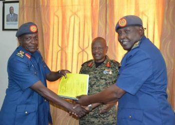 Brig Geoffrey Tumusiime  taken over the Office of Deputy Commander Air Forces from the outgoing Gen Gavas Mugyenyi (PHOTO/UPDF)