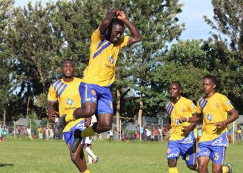 KCCA FC players celebrate Erisa Ssekisambu's goal against Kyetume FC on Tuesday. (PHOTO/Courtesy)