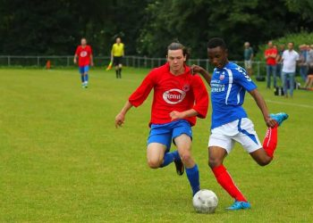 Gadafi Semanda (R) in action during a league game in Holland. (PHOTOS/Courtesy)