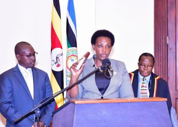 Ms. Molly Kamukama taking her oath at State House Entebbe (PHOTO/PPU)