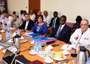 Mr Allibhai (R) with other members of the Association of the Expropriated Properties' Owners Association appear before MPs on Sept. 11, 2019. The group has protested the conduct of inquiry and gone to court  (PHOTO/PML Daily)
