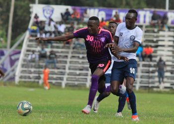 Action between Wakiso Giants FC and Police FC on Saturday. (PHOTO/Wakiso Giants)