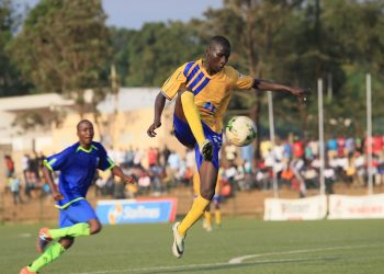 Opio controls the ball on Friday against Tooro United FC. (PHOTO/KCCA FC)