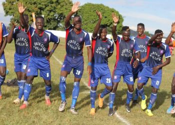 SC Villa celebrate thier goal against Express FC at Bombo on Wednesday afternoon. (PHOTO/Sanyuka TV)