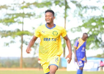 Saidi Kyeyune celebrates after scoring the second goal for URA FC against KCCA FC on Friday. (PHOTO/Courtesy)