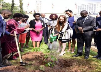 The IPU President waters a tree which she planted at Parliament (PHOTO/PML Daily)